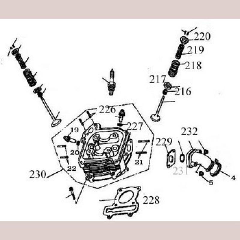 Klephoedje  China GY6 - QMB 139 motor 50cc Ø39mm