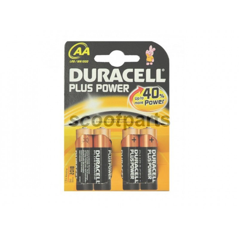 Batterij 1,5 Volt AA Duracell (4stk