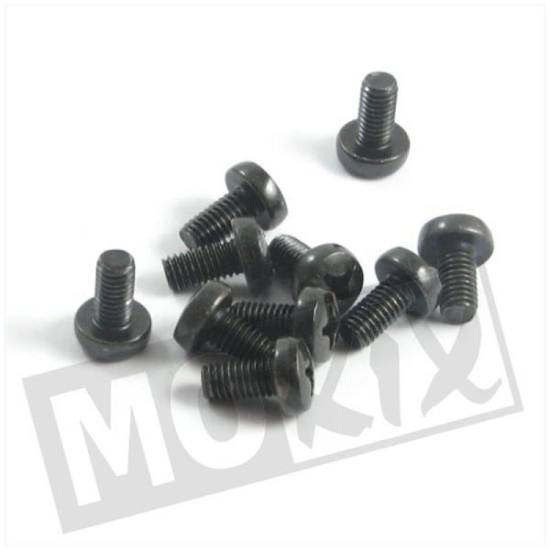 Metaalschroef M6x12 kruiskop zwart 10  stuks