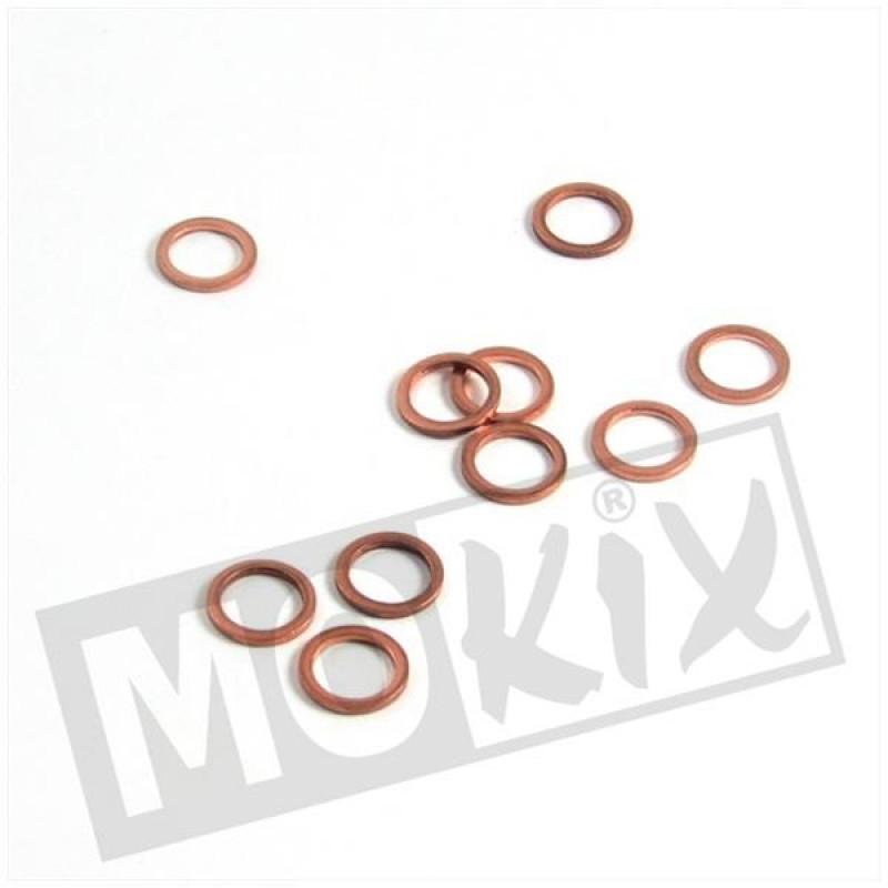 Ring koper rood 10x14mm 10 stuks