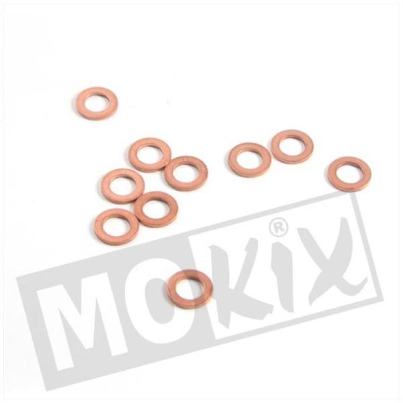 Ring rood koper 8 x 14mm 10 stuks