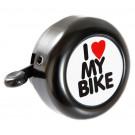 Fietsbel Edge staal - I Love My Bike - zwart