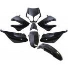 Kappenset - Plaatset TMT Derbi Senda DRD - Extrem zwart oud model (tot 2010) 8-delig zwart