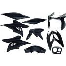 Kappenset - Plaatset Yamaha Aerox - MBK Nitro, (tot 2014) 9 delig zwart metallic